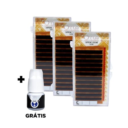 Kit fios o'clair 0.06mm 10/12/14mm Supreme Volume C + adesivo Smart+ 2g grátis