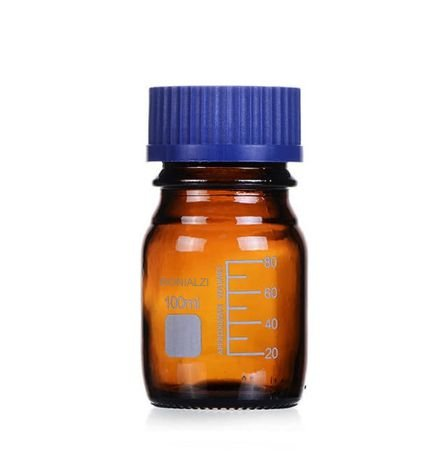 Frasco Reagente C/Tampa Azul Autoclavavel Âmbar 100Ml Ronialzi
