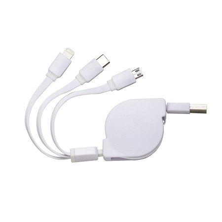 Cabo USB Retrátil 3 em 1 - IAD00338