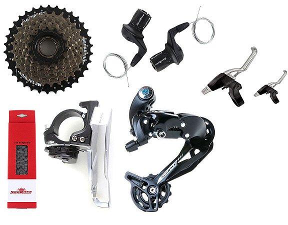 Kit Transmissão Cambios 21v SunRace Bike Mtb Dkm 3x7 M500