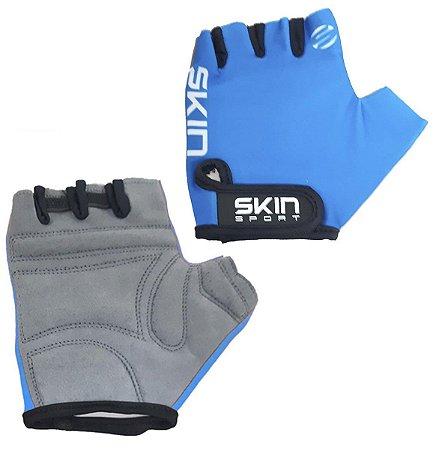 Luvas Para Ciclismo Dedo Curto Skin Sport Fun Azul Bike