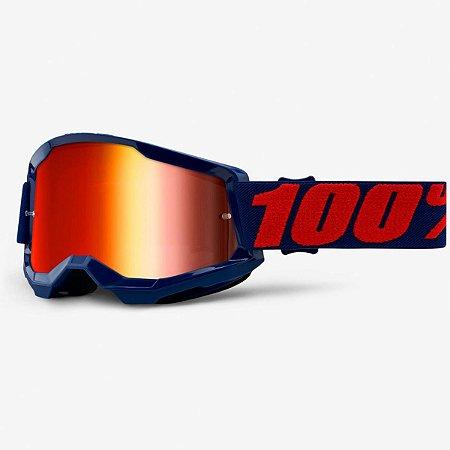 Óculos 100% Strata Goggle Bike DH Motocross Freeride Azul Lente Vermelho