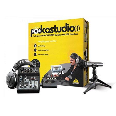Kit de Áudio Interface Behringer Podcast USB
