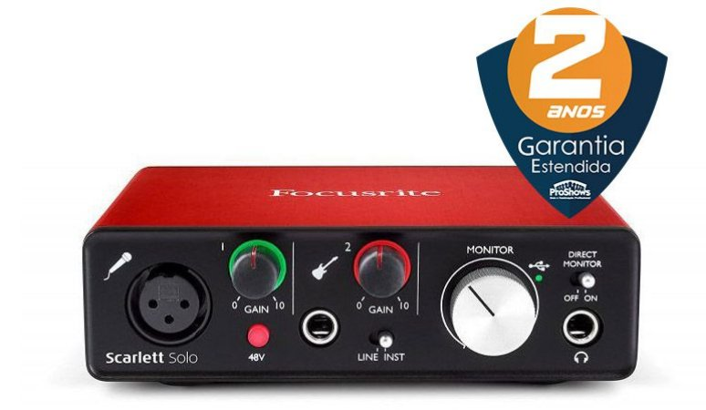 Interface de Áudio Focusrite Scarlett Solo USB 2nd Geração
