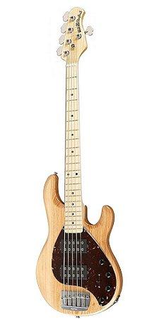 Contrabaixo 5 Cordas Music Man Sting Ray HH Natural Gloss com Case