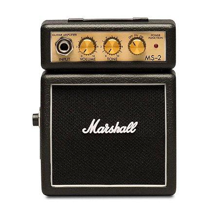 Micro Caixa Amplificada Marshall MS-2 1W Black para Guitarra
