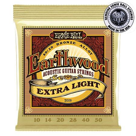 Encordoamento Ernie Ball Earthwood 80/20 .010 / .050 Extra Light 2006 para Violão