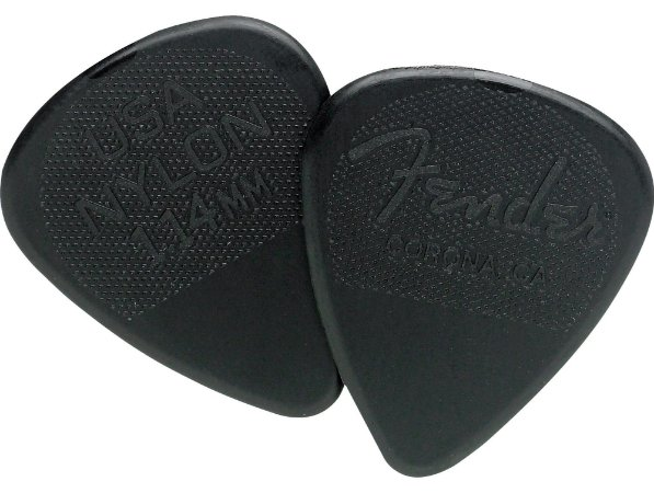 Kit Palhetas Fender Nylon Picks Extra Heavy Black 12pçs