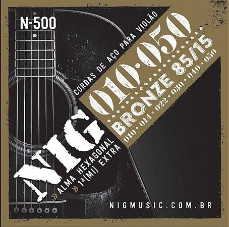 Encordamento Nig N-500 85/15 .010''/.050'' para Violão Aço