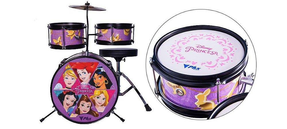 """Bateria Acústica PHX BID-P1 Disney Princesas 14"""" + Brinde Oficial Disney"""