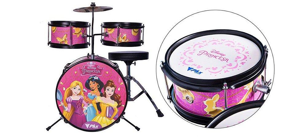 """Bateria Acústica PHX BID-P2 Disney Princesas 14"""" + Brinde Oficial Disney"""