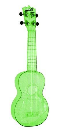 Ukulele Akahai Ghost Verde Neon com Cordas Aquilas
