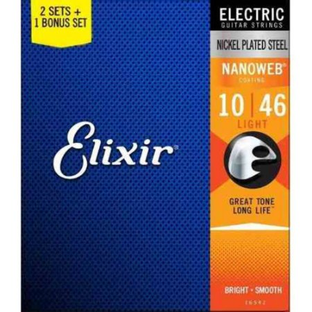 Encordoamento Elixir 0.10/0.46 Light 12052 Nanoweb Pack com 3 para Guitarra