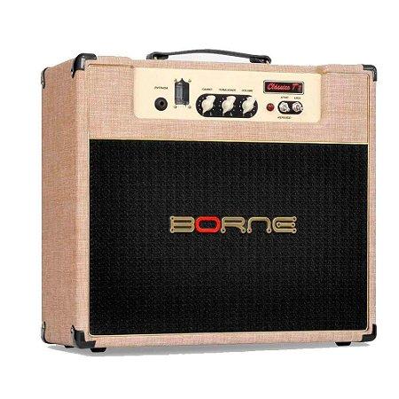 Caixa Amplificada Borne Valvulado Clássico T7 1x12'' 7w RMS para Guitarra Palha