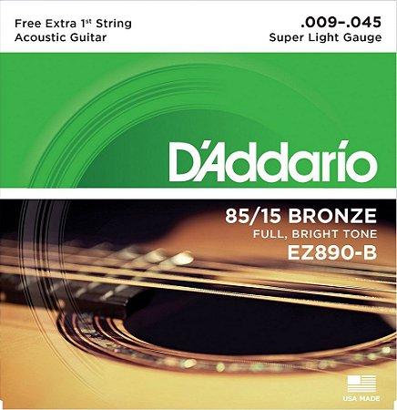 Encordoamento D'addario EZ890B 85/15 Bronze 009-045 para Violão
