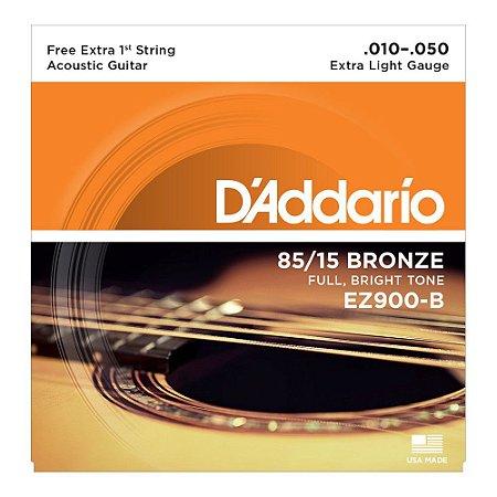 Encordoamento D'addario EZ900B 85/15 Bronze 010-050 para Violão