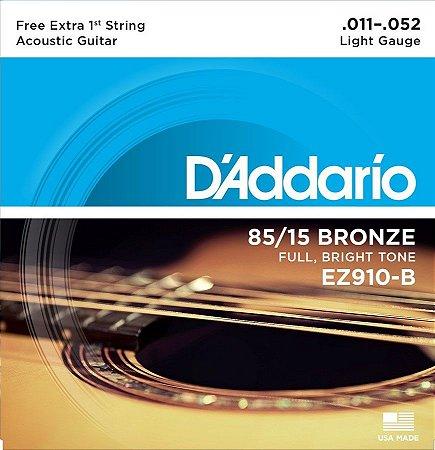 Encordoamento para Violão D'addario EZ910B 85/15 Bronze 011-052