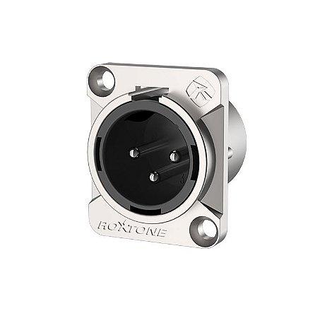 Conector Roxtone RX3MD–NT Premium XLR Painel Macho