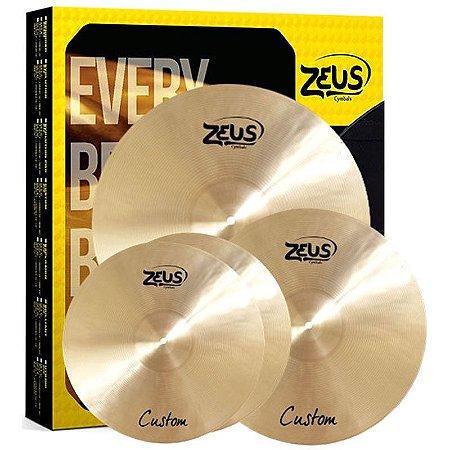 "Kit de Pratos Zeus Cymbals SET C Custom Series 14""/16""/20"""