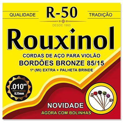 """Encordoamento Rouxinol R-50 .010""""/.042 Bronze 85/15 para Violão Aço"""