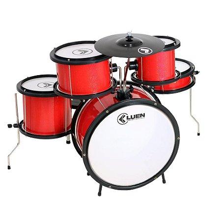 "Bateria Infantil Luen Percussion Pop Bumbo 14"" Vermelha"