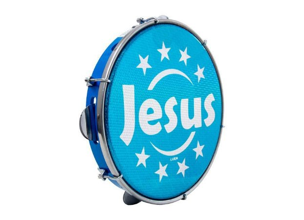 "Pandeiro Luen Percussion 10"" Aro ABS Azul Pele Holográfica"