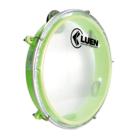 "Pandeiro Luen Percussion 8"" Aro ABS Verde Pele Cristal"