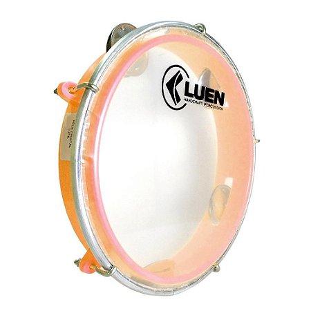 "Pandeiro Luen Percussion 8"" Aro ABS Laranja Pele Cristal"
