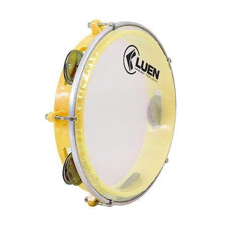 "Pandeiro Luen Percussion 8"" Aro ABS Amarelo Pele Cristal"