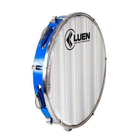 "Pandeiro Luen Percussion 10"" Aro ABS Azul Pele Holográfica Lisa"