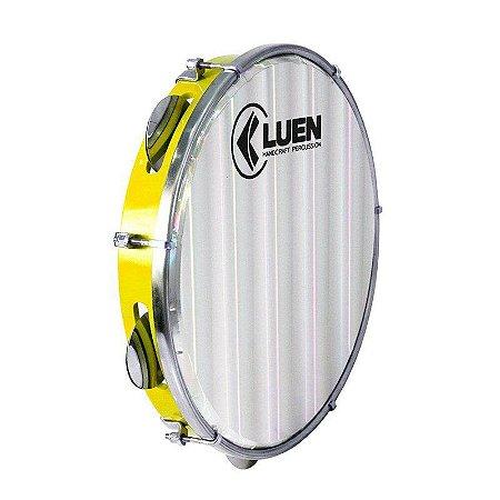 "Pandeiro Luen Percussion 10"" Aro ABS Amarela Pele Holográfica Lisa"