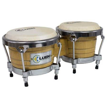 "Bongô Luen Percussion 6""/7"" Folheado Natural Cromadas com Pele Animal"