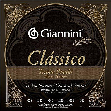 Encordoamento Giannini GENWPA .028/.042 Tensão Pesada Clássico para Violão