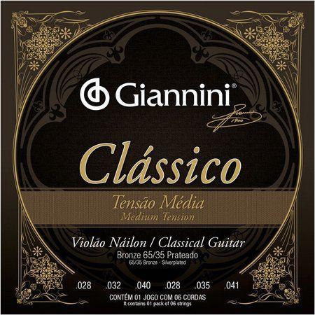 Encordoamento Giannini GENWPM .028/.041 Tensão Média Clássico para Violão