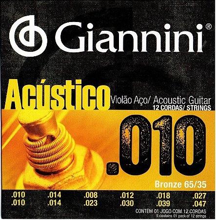 Encordoamento Giannini GESWA12 .010/.047 Bronze 65/35 para Violão 12 Cordas