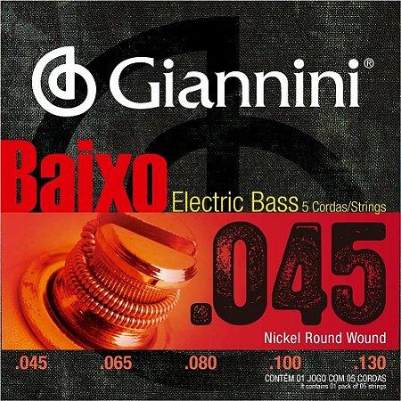 Encordoamento Giannini GEEBRS-5 .045/.0130 Tensão Pesada para Contrabaixo