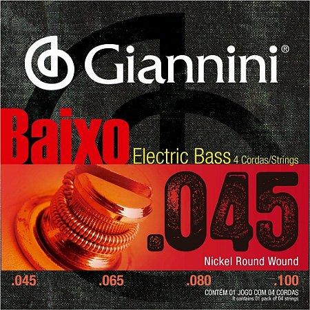 Encordoamento Giannini GEEBRS-4 .045/.0100 Tensão Pesada para Contrabaixo