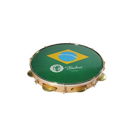"""Pandeiro Timbra 11"""" Madeira Fórmica Clara Aro Dourado com Pele Brasil"""