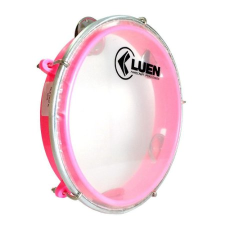 Pandeiro Junior Luen Percussion 8 Aro ABS Rosa Pele Cristal