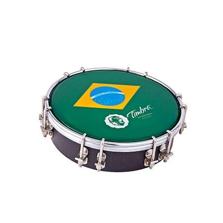 """Tamborim Timbra 06"""" Madeira Escura Cromado com Pele Brasil"""