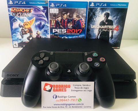 Console - Ps4 Slim 1TB com 3 Jogos ( USADO )