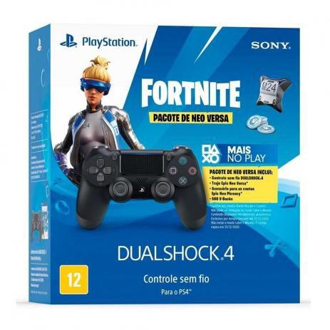 Controle Sem Fio Dualshock 4 Sony Preto + Voucher Fortnite ( NOVO )