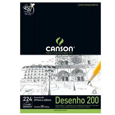 PAPEL CANSON EM BLOCO DESENHO A2 BRANCO