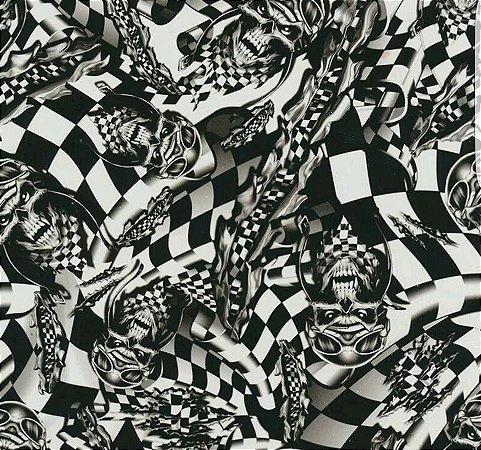 pelicula para water transfer printing modelo caveiras xadrez tamanho 1 metro de comprimento x 50 Cmts  de largura