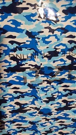 pelicula para water transfer printing modelo  camuflado militar  azul tamanho 1mts x 50 cmts de largura