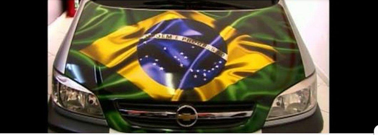 vinil com laminação para adesivagem automotiva modelo bandeira do BRASIL FLAMADA tamanho 1,20 x 1,30  mts comprimento
