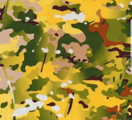 pelicula para water transfer printing modelo camuflado amarelo ,  verde e preto  - tamanho 1 mts comp x 50 cmts largura