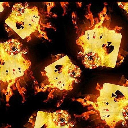 Película para Water Transfer Printing modelo Carta de Baralho com fogo 046 - 1m x 0,50