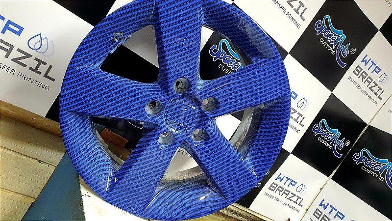 pelicula para water transfer printing modelo carbono AZUL tamanho 1mts x 50 cmts de largura