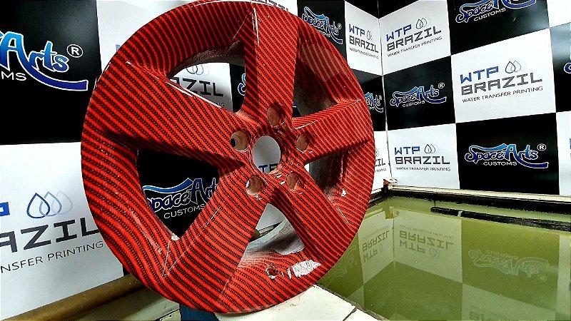 pelicula para water transfer printing modelo carbono VERMELHO  tamanho 1mts x 1 mts de largura